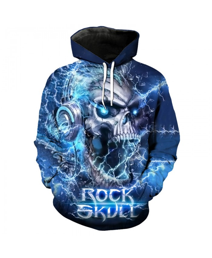 Blue Lightning DJ skull Printed Fashion Hooded Sweatshirt Cool Pullover Tracksuit Pullover Hooded Sweatshirt
