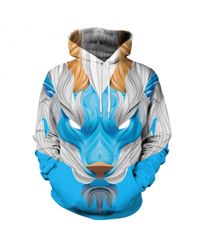 Blue Lion Hoodies Men Women 3d Sweatshirts With Hat Hoodies Hand Painted Print Colorful Blocks Lion Hooded Hoodies
