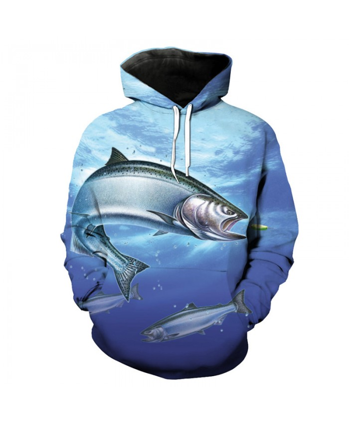 Blue Ocean Fish Print Fashion Hooded Sweatshirt Men Sportswear Men Women Casual Pullover Sportswear
