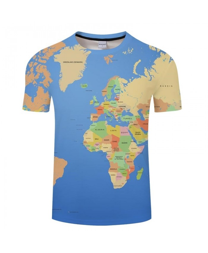 Blue Ocean Map 3D Printed Men tshirt Mens Shirt Casual Summer Short Sleeve Male tshirt Brand Men Round Neck