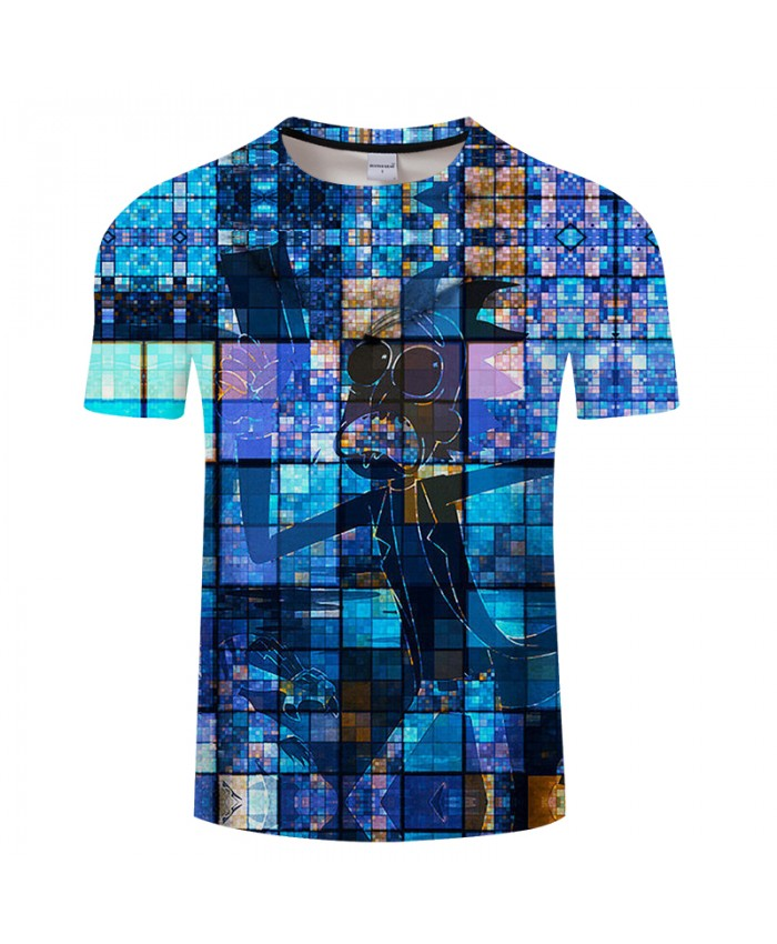 Blue Plaid&Rick 3D Print t shirt Men Women tshirts Summer Anime Short Sleeve O-neck Tops&Tee 2019 Hot Drop Ship
