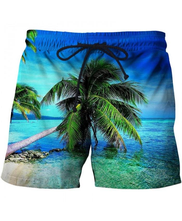 Blue Sea Men Board Shorts 3D Print Men Shorts Casual Summer Cool Men Elastic Waist Male Fitness Shorts Drop Ship
