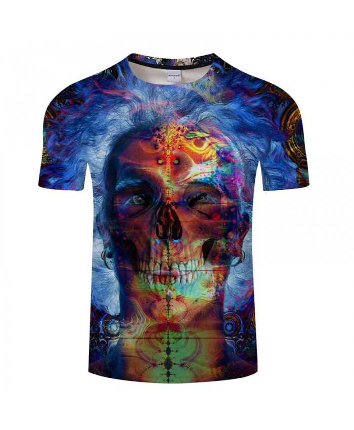 Blue Skull 3D Print t shirt Men Women tshirt Summer Casual Short Sleeve O-neck Streetwear Tops&Tees 2019 Drop Ship