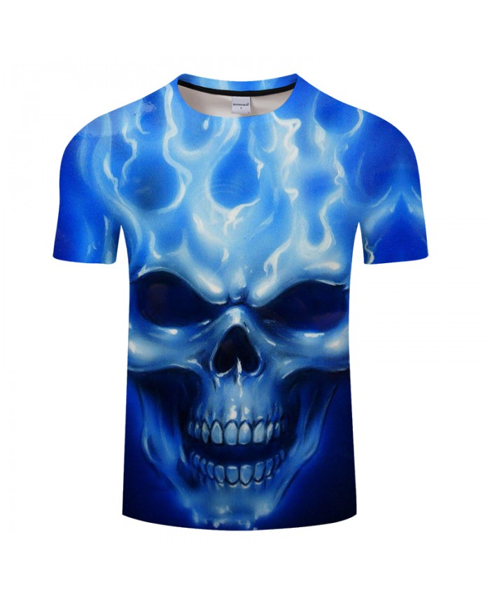 Blue Skull 3D t shirt Men tshirt Summer T-Shirt Casual Tops Short Sleeve Tee Male T-Shirt Streetwear Vintage DropShip