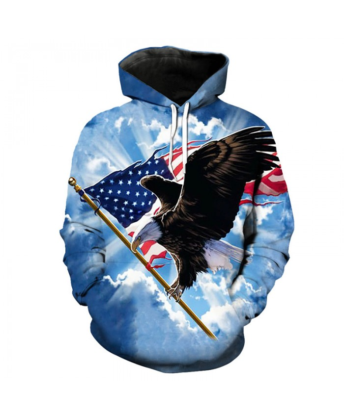 Blue Sky Flying Scratching Flag Eagle Print Funny Hooded Sweatshirts Pullover Casual Hoodie Autumn Tracksuit Pullover Hooded Sweatshirt