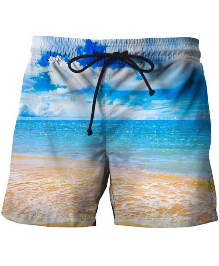 Blue Sky Men Board Shorts 3D Print Men Shorts Casual Summer Cool Men Elastic Waist Male Fitness Shorts Drop Ship