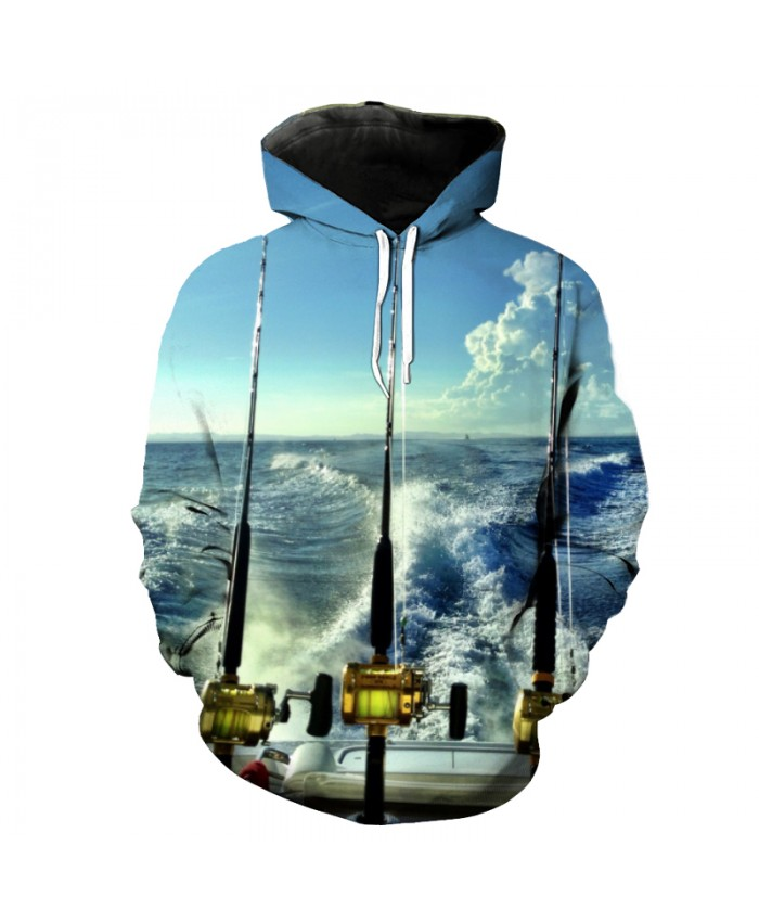 Blue Sky Ocean Fish Series Fashion Hooded Pullover Casual Sweatshirt Men Women Casual Pullover Sportswear