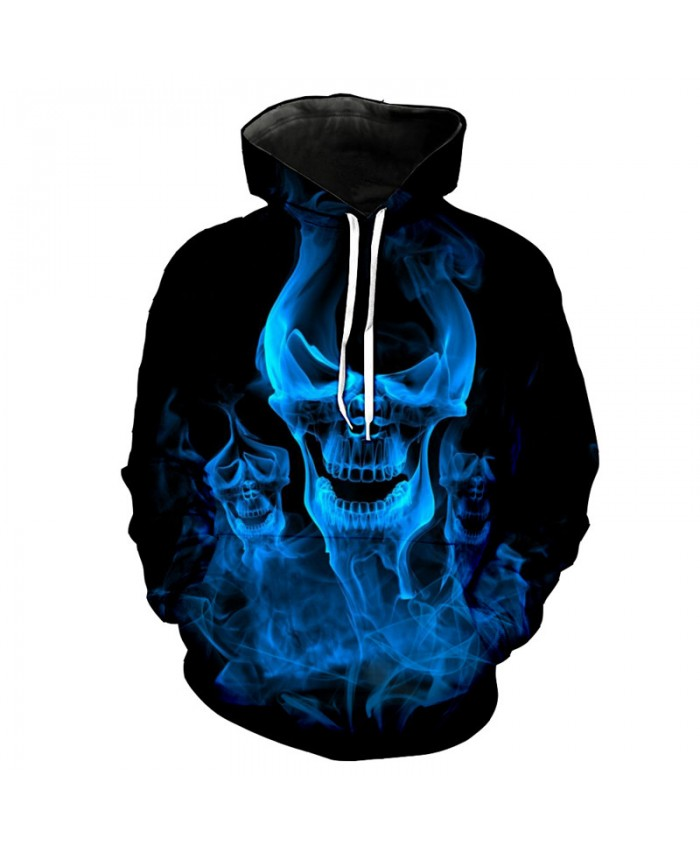 Blue Smoke Skull Casual Cool Hooded Sweatshirt Tracksuit Pullover Hooded Sweatshirt