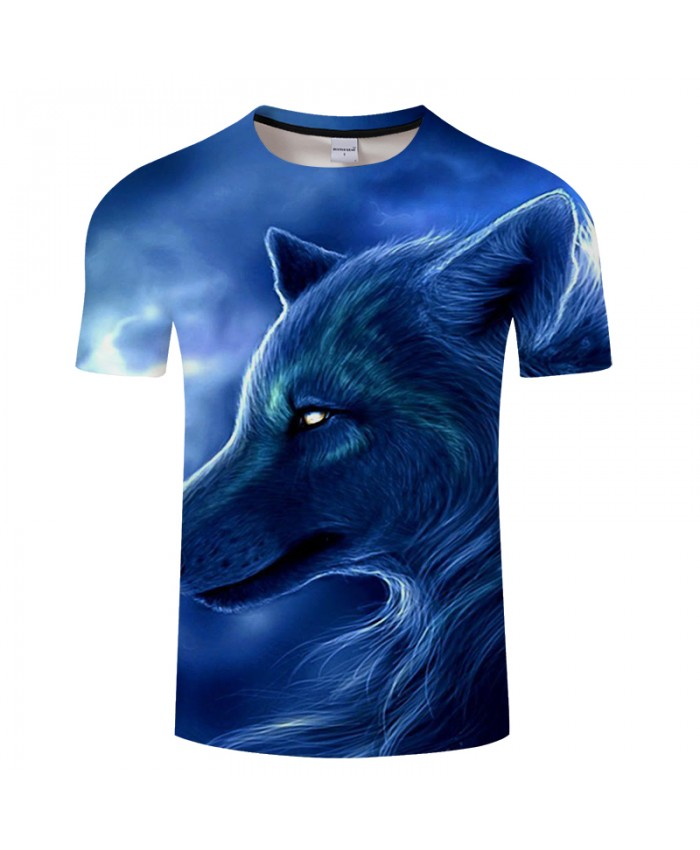 Blue Wolf 3D Print t shirt Men Women tshirt Summer Casual Short Sleeve O-neck Tops&Tee Streetwear Blue Drop Ship