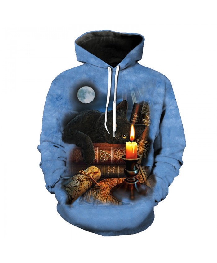 Bookcase Black Scholar Cat Fashion Hooded Sweatshirt Autumn Pullover Casual Hoodie Autumn Tracksuit Pullover Hooded Sweatshirt