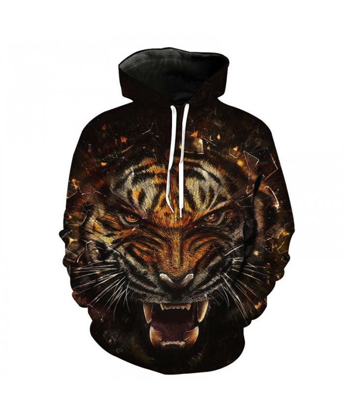 Break the glass Violent Tiger Cool Fashion Hooded Sweatshirt Street Pullover Casual Hoodie Autumn Tracksuit Pullover Hooded Sweatshirt