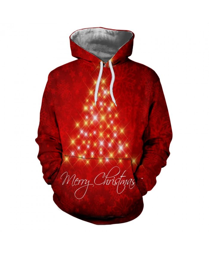 Bright Christmas Tree Men Women 3D Red Sweatshirts Hoodies Funny Santa Hoody Fashion Brand Clothing Hoodie Tops