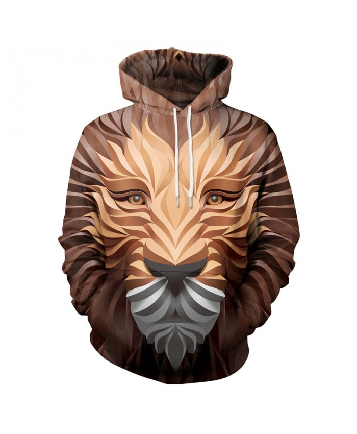 Brown Lion Hoodies Men Women 3d Sweatshirts With Hat Hoodies Hand Painted Print Colorful Blocks Lion Hooded Hoodies