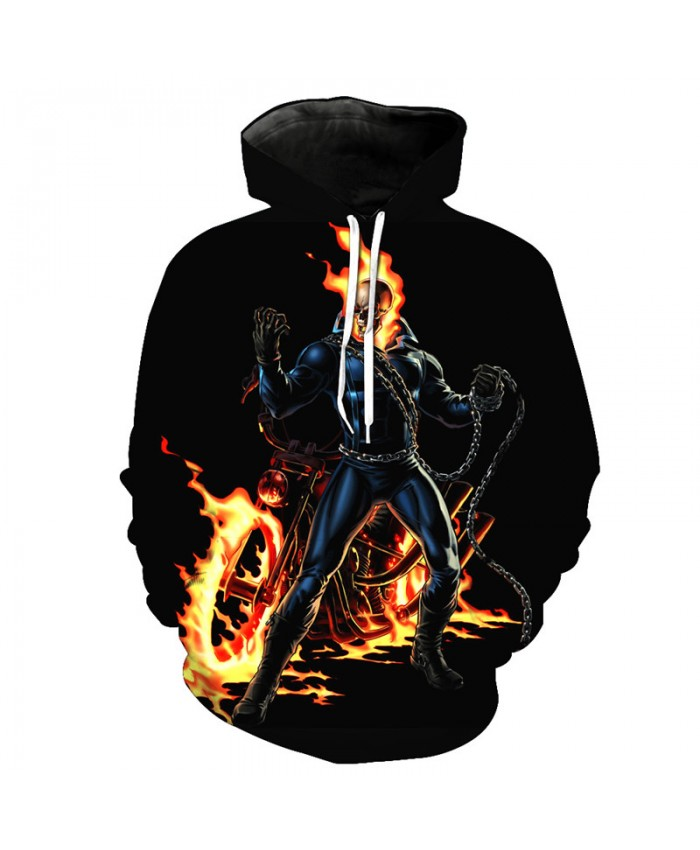 Burning Flame Hoodie Fashion Skull Motorcycle Printing Jumper Sweatshirts Tracksuit Pullover Hooded Sweatshirt