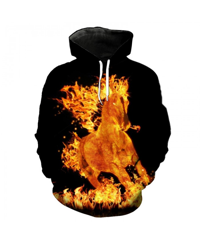 Burning Flame Horse Hooded Pullover Autumn Fashion Sweatshirts Casual Hoodie Autumn Tracksuit Pullover Hooded Sweatshirt