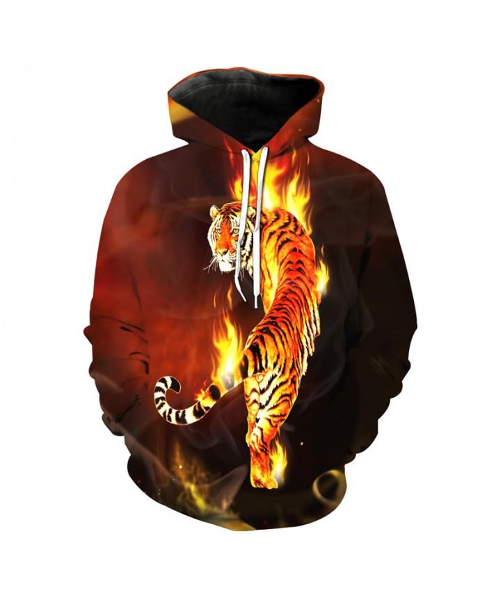 Burning Flame Tigers Cool Hoodies Fashion Sweatshirts Pullovers Casual Hoodie Autumn Tracksuit Pullover Hooded Sweatshirt