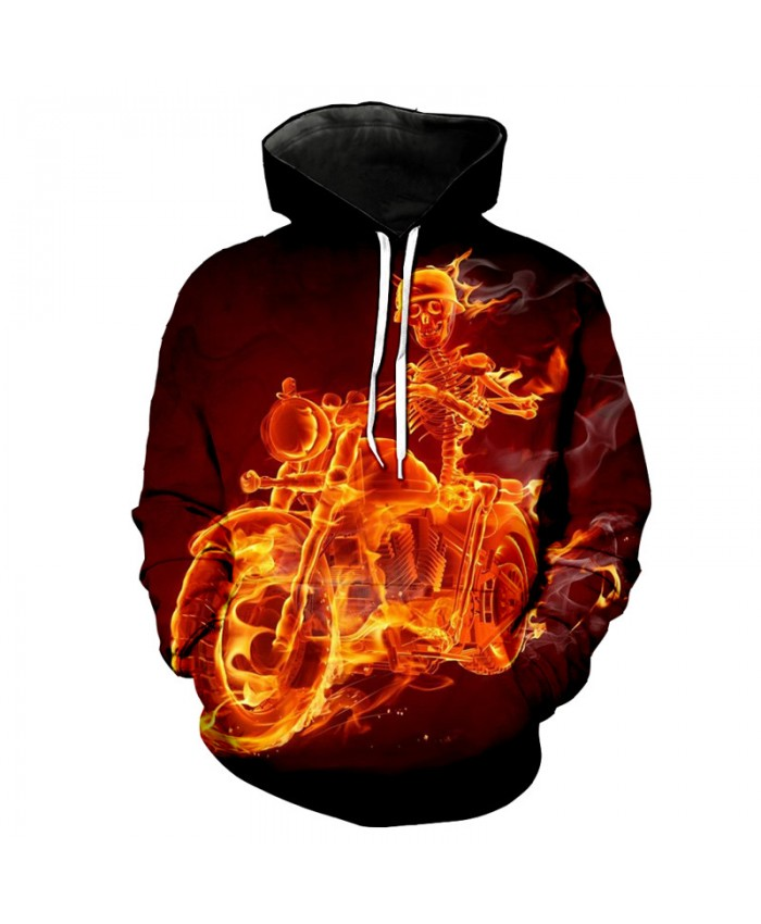 Burning Skull Knight Cool Street Hoodies Fashion Hooded Pullover Tracksuit Pullover Hooded Sweatshirt