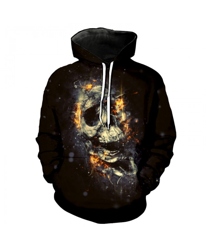 Burst Burning Skull Printed Fashion Hooded Sweatshirt High Quality Pullover Tracksuit Pullover Hooded Sweatshirt