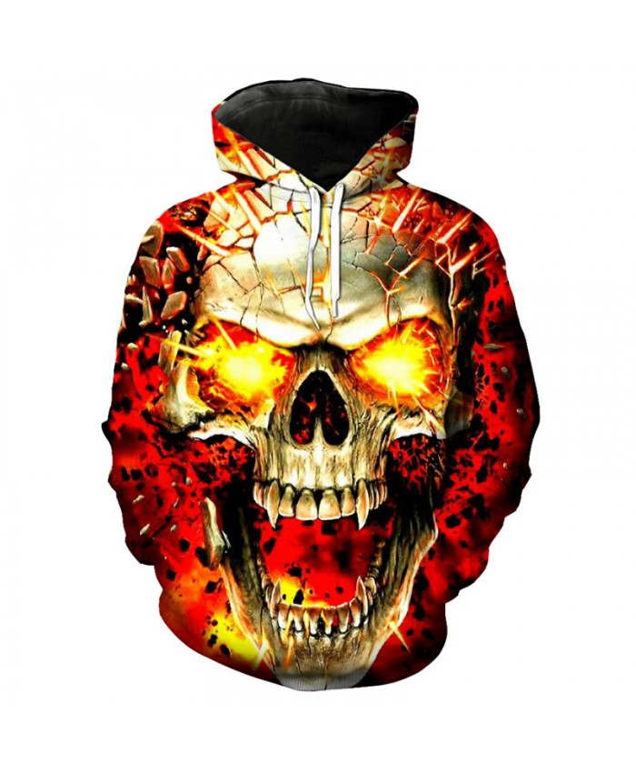 Burst Flame Skull Cool 3D Men's Hooded Sweatshirt Skull Series Fashion Pullover Streetwear Tracksuit Pullover Hooded Sweatshirt