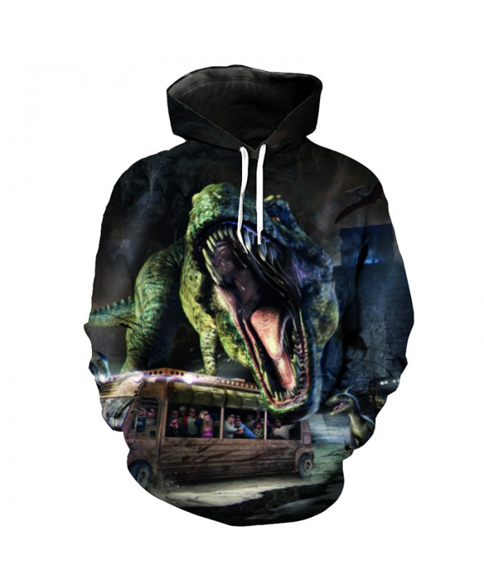 Bus Roaring Tyrannosaurus Fashion Cool Hooded Sportswear Street Pullover