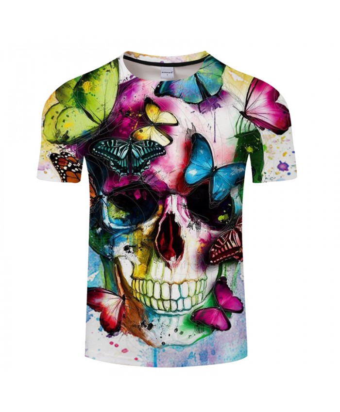 Butterfly&Skull 3D Print t shirt Men Women tshirts Summer Casual Short Sleeve O-neck Tops&Tees Streetwear Drop Ship