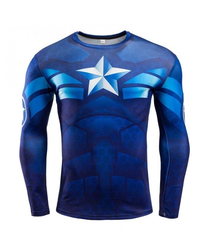 CAPTAIN AMERICA COMPRESSION MMA RASH GUARD Men Tops T shirts 3D Long Sleeve Tees