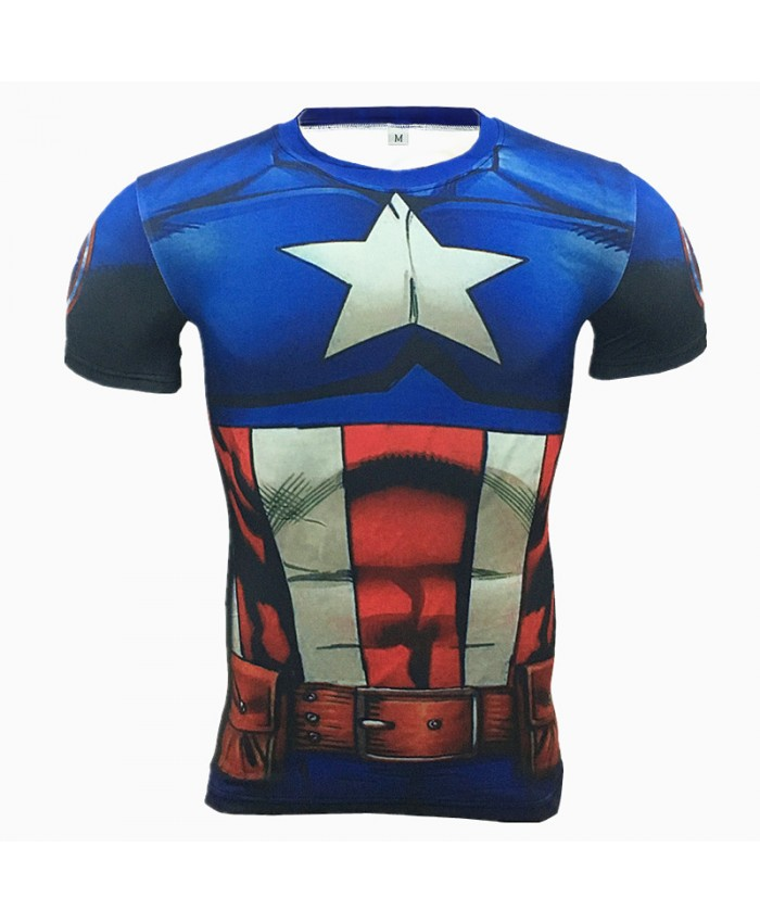 CAPTAIN AMERICA Compression Shirt for Men T-shirts 3D Short Sleeve Tees