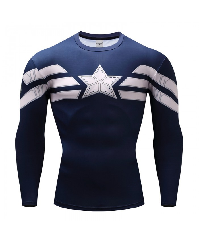 Captain American T shirts Compression Men T-Shirts Fitness Bodybuilding Tops 3D Printed Funny Long Sleeve Tees Camiseta