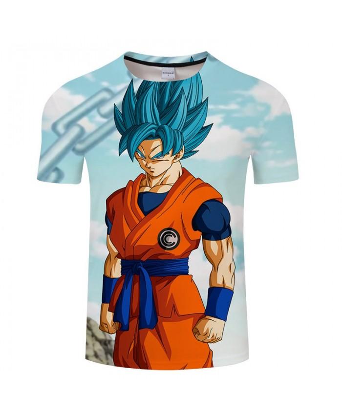 Cartoon Goku Clenching Fist Dragon Ball 3D Print tshirt Men tshirt Summer Casual Short Sleeve Male O-neck Drop Ship