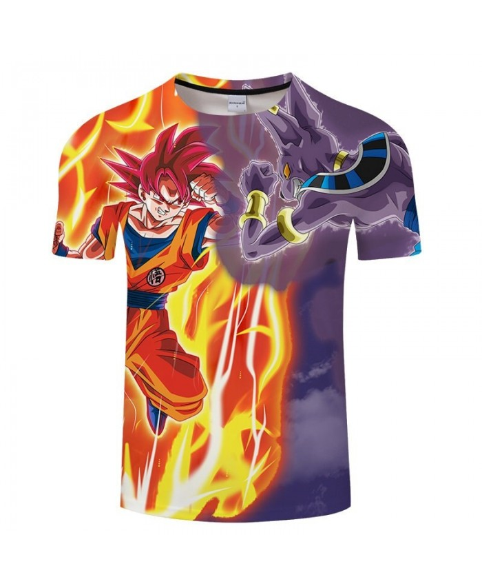 Cartoon Goku Fighting With Animal Dragon Ball 3D Print Men tshirt Anime Casual Short Sleeve Male Quick Dry Drop Ship