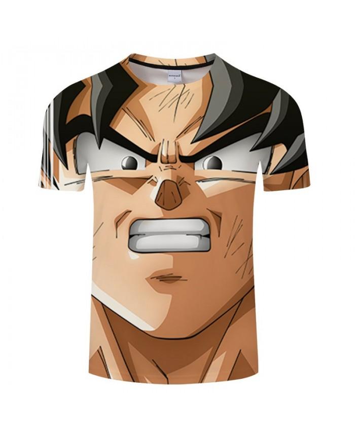 Cartoon Goku Showing White Teeth Contradict 3D Print Men tshirt Anime Casual Summer Short Sleeve Male Drop Ship