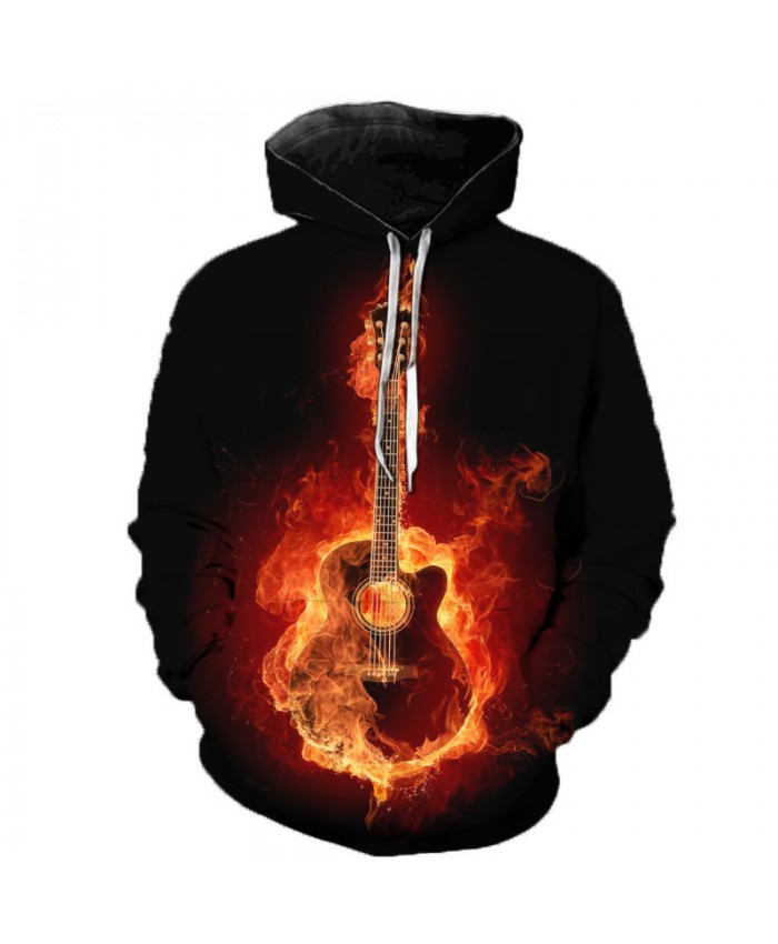 Cartoon Guitar 3D Print Men Women Hooded Sweatshirts Multicolor Guitar Casual Hoodie Streetwear Personality Plus Size Hoodies