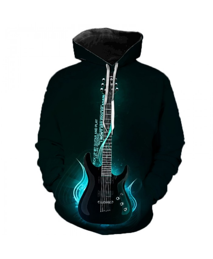 Cartoon Guitar 3D Print Men Women Hooded Sweatshirts Multicolor Guitar Casual Hoodie Streetwear Personality Plus Size Hoodies C