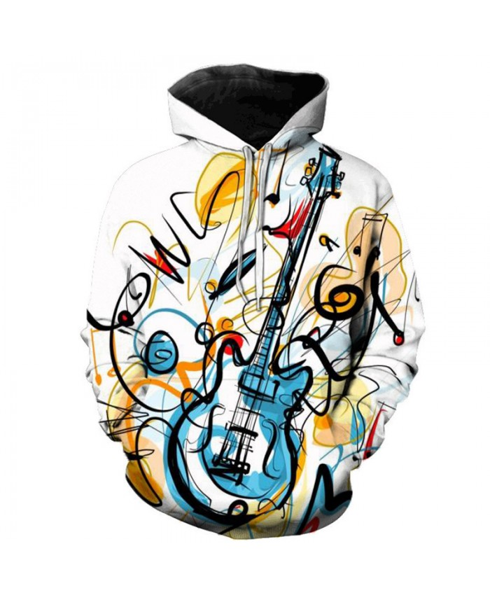 Cartoon Guitar 3D Print Men Women Hooded Sweatshirts Multicolor Guitar Casual Hoodie Streetwear Personality Plus Size Hoodies D