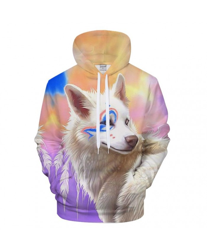 Cartoon Hoodies Wolf Hoody Men 3D Sweatshirts Male Pullover Streatwear Tracksuits Rainbow Coat Women Hoodie Drop Ship