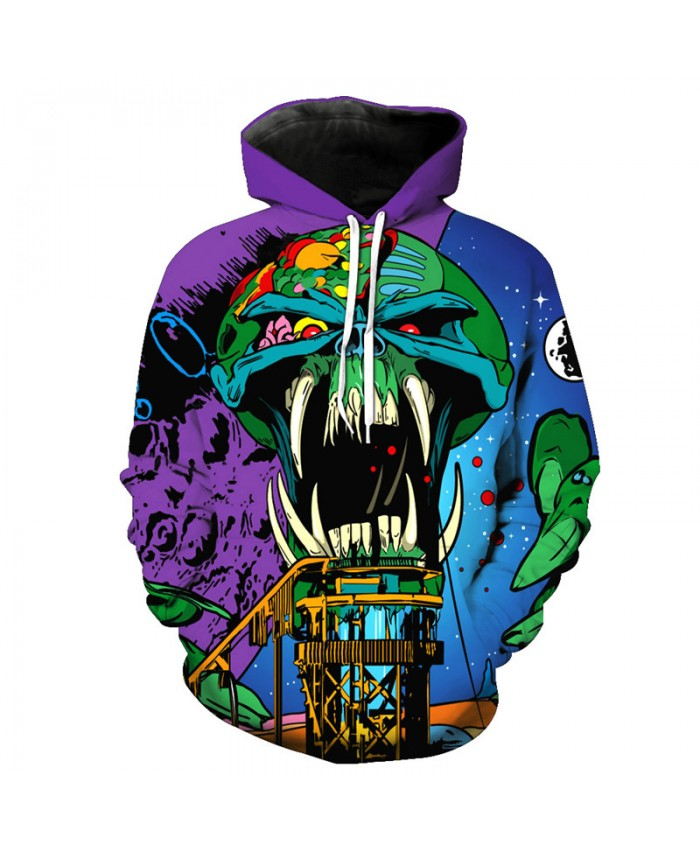 Cartoon Long Teeth Skeleton Printed Hooded Sweatshirts Tracksuit Pullover Hooded Sweatshirt