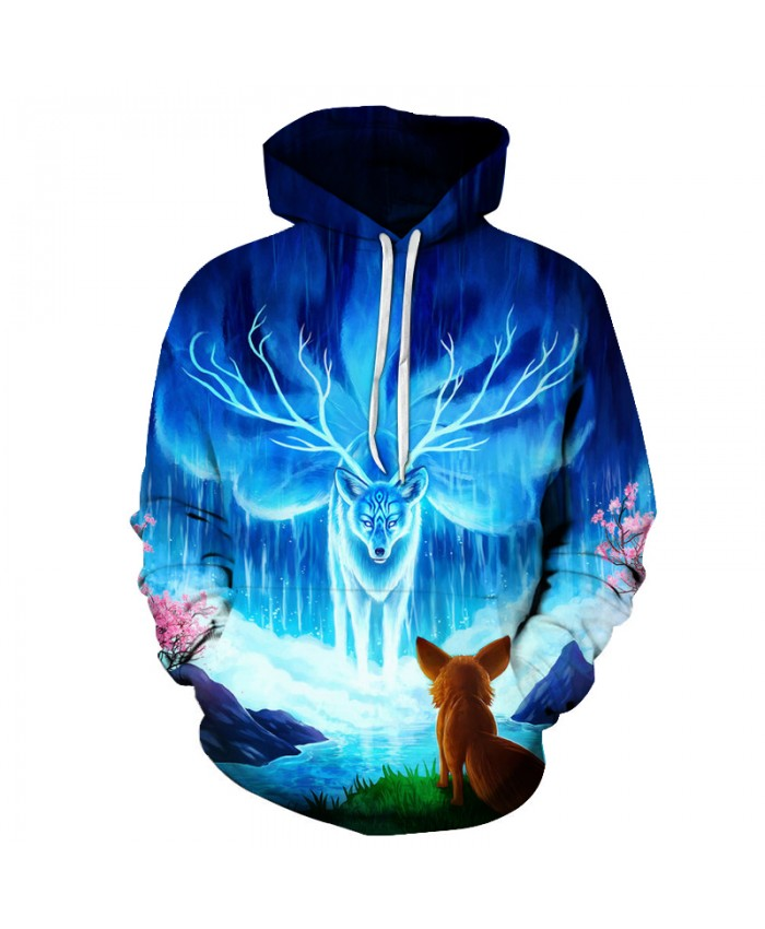 Cartoon Pattern Hoodies Men Women Sweatshirts 3D Fox Printed Pullover Casual Tracksuits Autumn Hooded Outwear