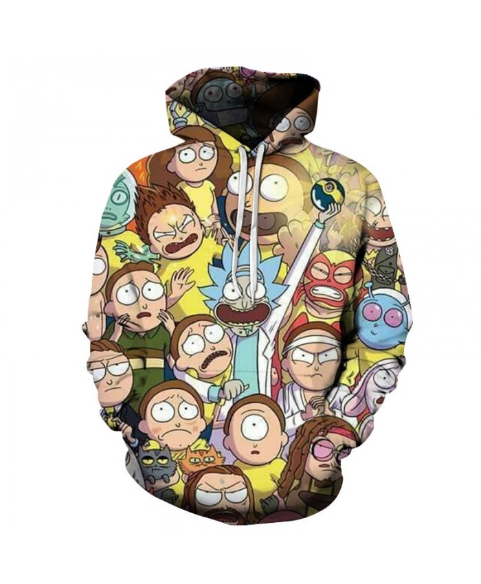 Cartoon Printed Hoodies Mens Hoody 3D Rick and Morty Sweatshirts Streatwear Tracksuit Anime Pullover Unisex Drop ship