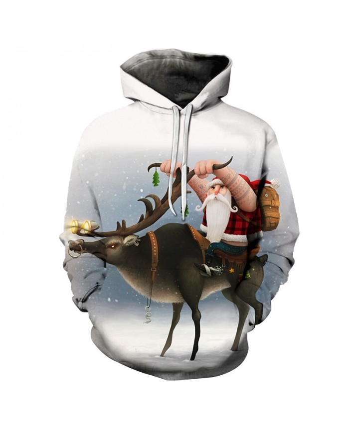 Casual Fashion 3D Hoodies Christmas Sweatshirts Sport Hoodies For Men Grandfather Riding Drop Shopping