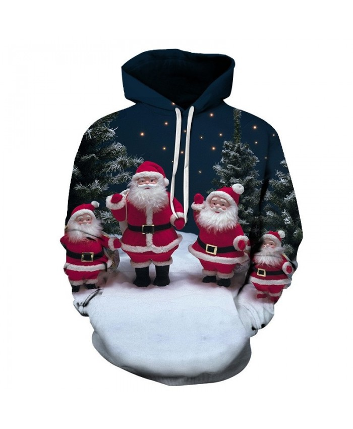 Casual Fashion 3D Hoodies Christmas Sweatshirts Sport Hoodies For Men White Bearded Old Man