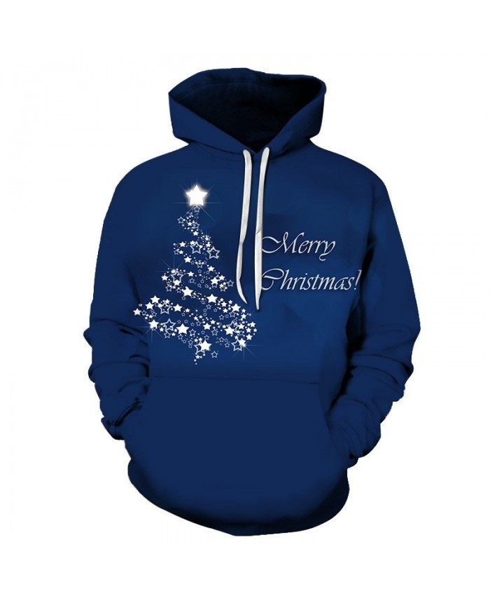 Casual Fashion Blue 3D Printed Men Hoodies Sweatshirts Hoodies Christmas Merry Men Tracksuit Coat Unisex