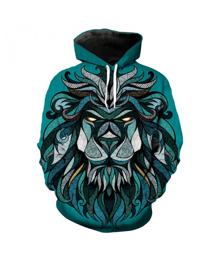 Casual Green Pullover Hoddies Personality Totem Lion Print Fashion Hooded Sweatshirt Casual Hoodie Autumn Tracksuit Pullover Hooded Sweatshirt