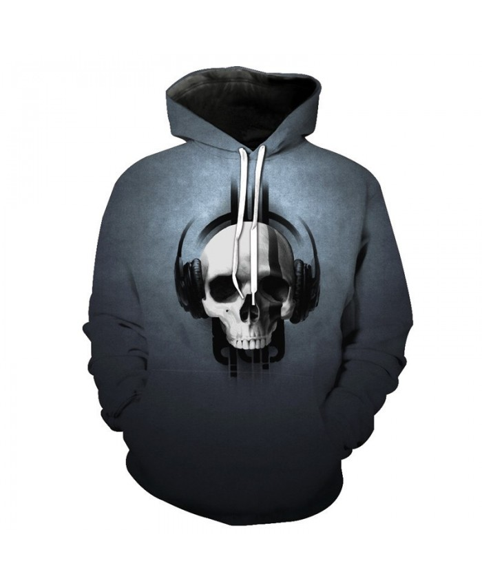 Casual Grey Hoodie Music Headphone Skull Print Men's Hooded Pullover Tracksuit Pullover Hooded Sweatshirt