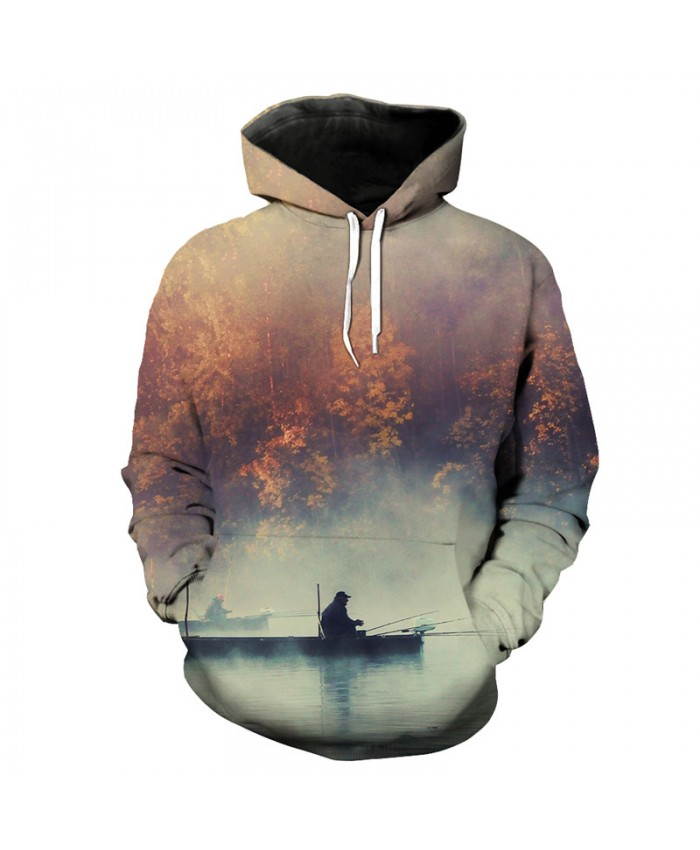 Casual Hooded Sweatshirt Maple Lake Fishing Print Fun Hoodie Men Women Casual Pullover Sportswear