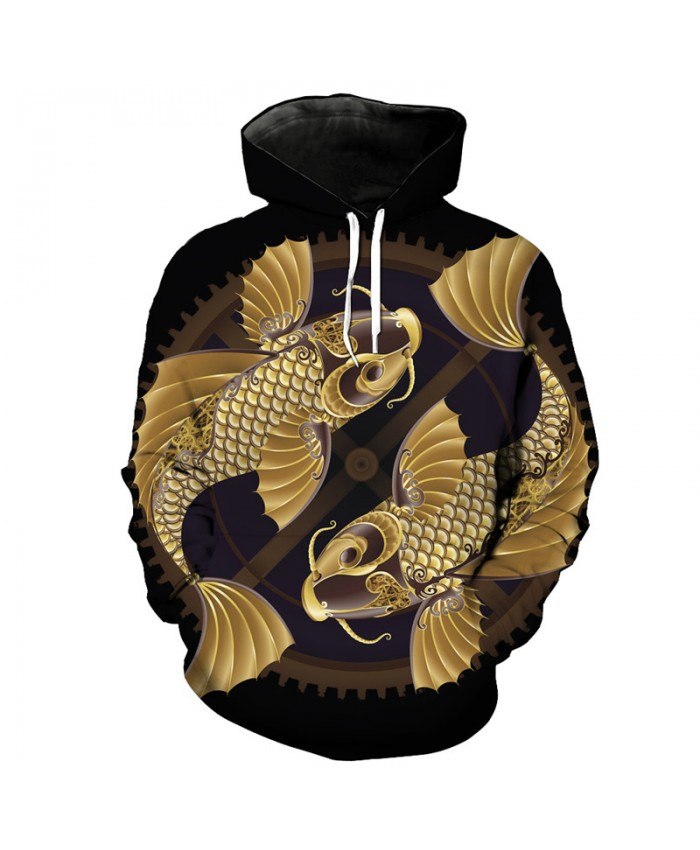 Casual Hoodie Chinese Style Lucky Goldfish Fashion Sweatshirt Pullover Men Women Casual Pullover Sportswear