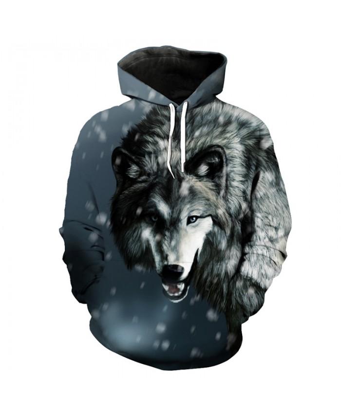 Casual Hoodie Snow Walks Grey Wolf Print 3d Hooded Sweatshirt Pullover Men Women Casual Pullover Sportswear
