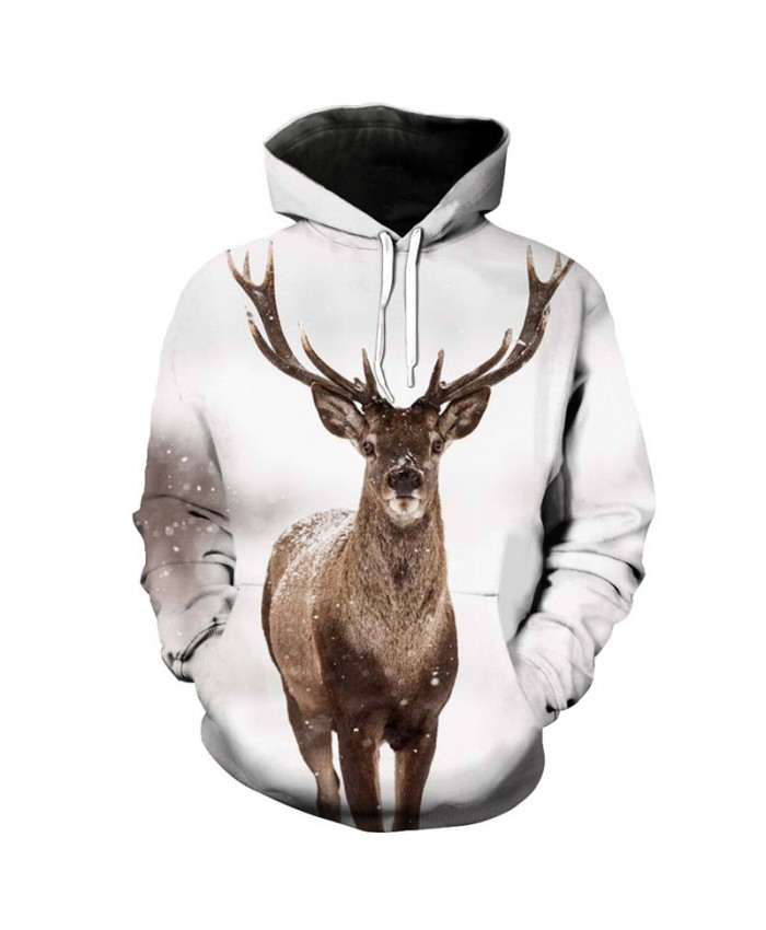 Casual Men Women Sweatshirt Snowflake Reindeer Print Fashion 3D Hooded Pullover
