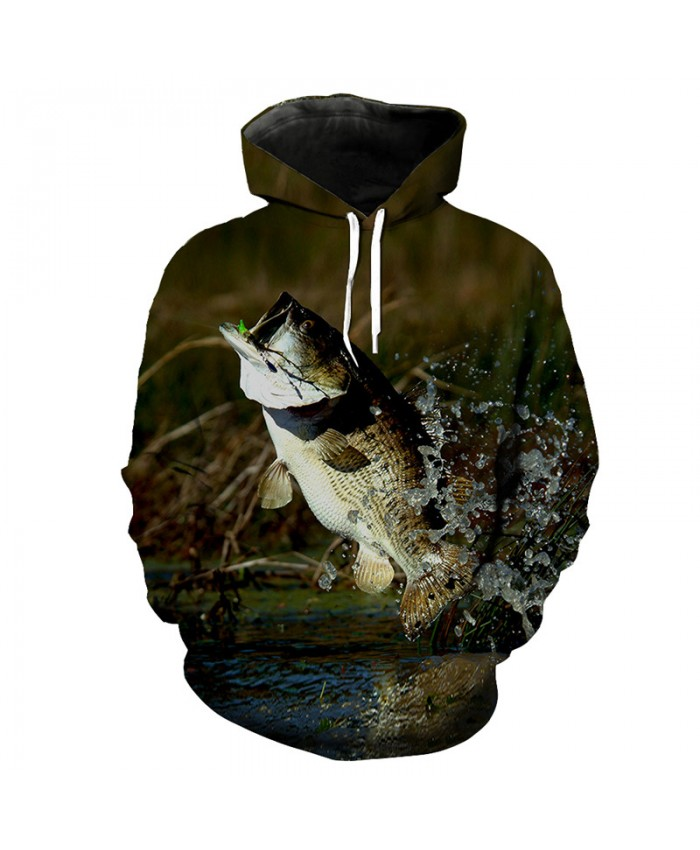 Casual hooded sweatshirt flying to eat hook fish print fun hooded sweatshirt Men Women Casual Pullover Sportswear