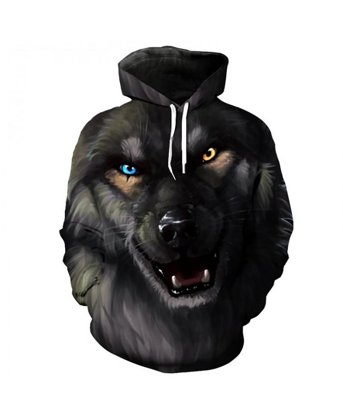 Casual hoodies roaring black wolf print cool sportswear pullover Tracksuit Pullover Hooded Sweatshirt