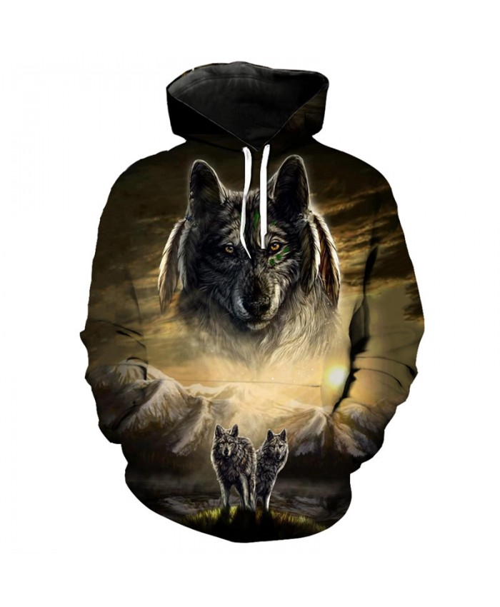 Casual pullover snow mountain grassland wolf print fashion 3D sweatshirt Men Women Casual Pullover Sportswear